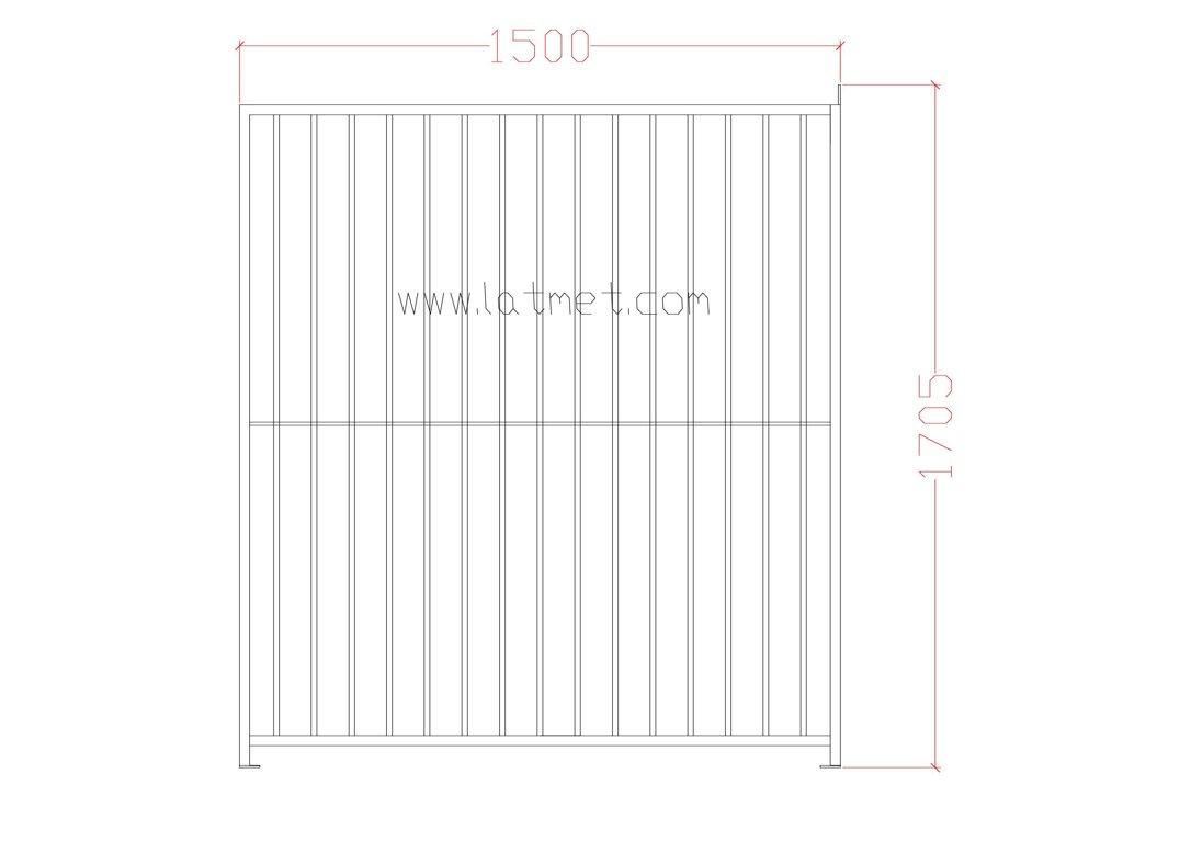 Voljēra priekšējā vai aizmugurējā siena (dalīta, metāla) 1500, ZN