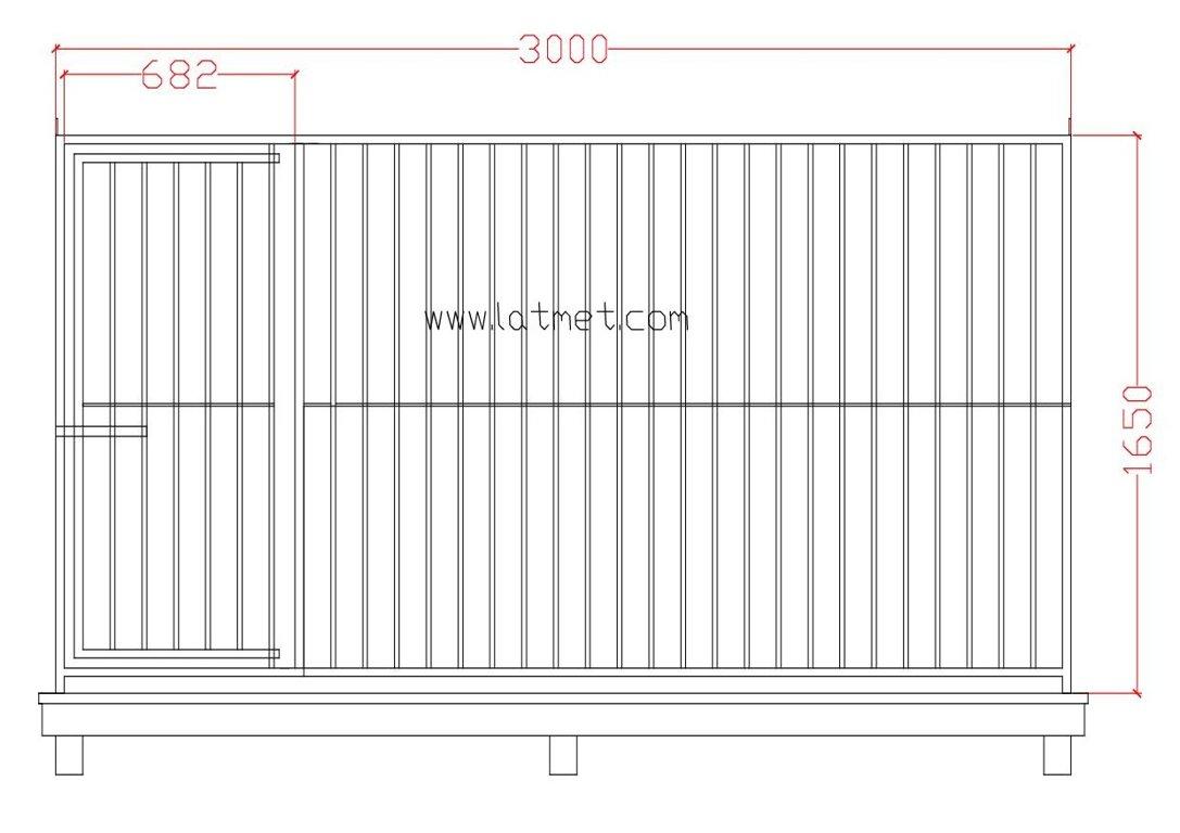 Voljēra priekšējā siena ar durvīm, 3000, Zn
