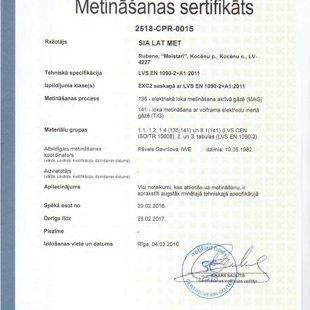 Lat Met ir sertificējis MAG un TIG metināšnas procesus